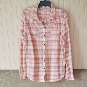 Ruff Hewn button -up shirt large pink cream